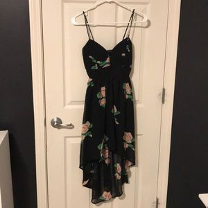 Black, floral, spaghetti strap dress